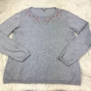 Talbots Embroidered Neckline Pull Over Sweater